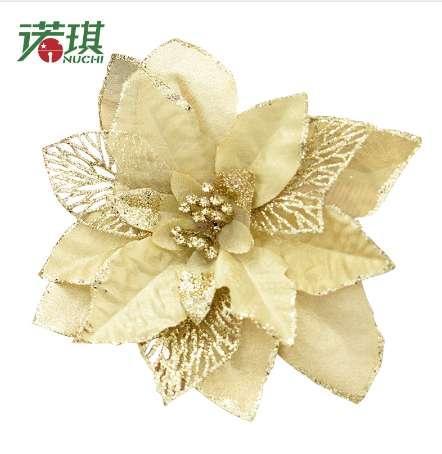 NUCHI 2 unids / 20 cm cebolla en polvo flor de la Navidad flor artificial decoración del árbol de Navidad colgante adorno de Navidad