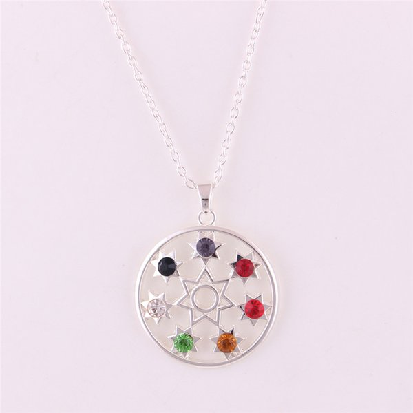 Pendant Necklace For Women Men Round Shape Seven Pointed Star Pattern And Colorful Crystals Zinc Alloy Provide Dropshipping