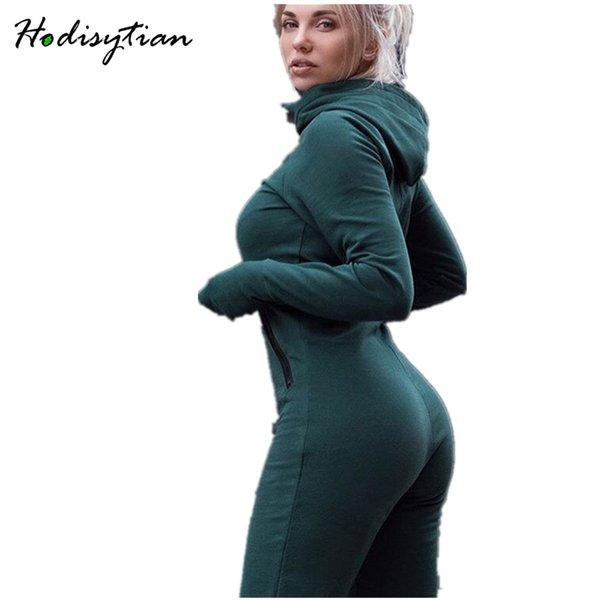 Hodisytian Women Jumpsuits Autumn Hooded Cotton Tracksuits Slim Green Thin Rompers Bodysuits Long Sleeve Solid Female Overalls