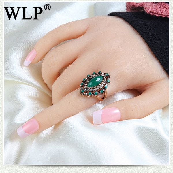 WLP Fancy 2018 Blue Stone Ring Unique  Women Girl Fashion Silver Color Popular Alloy Creative Party Gift Female Ring Sets