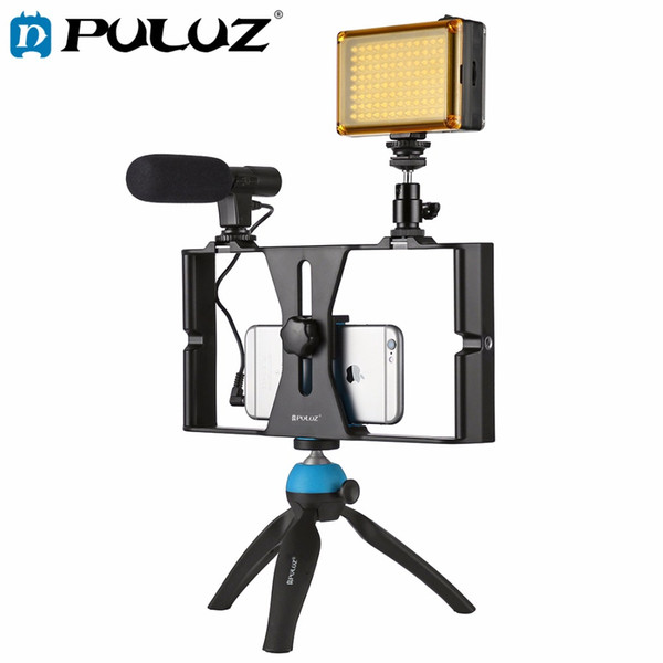 PULUZ Smartphone Video Rig + LED Studio Light + Video Microphone Mini Tripod Mount Kits with Cold Shoe Tripod Head for iPhone