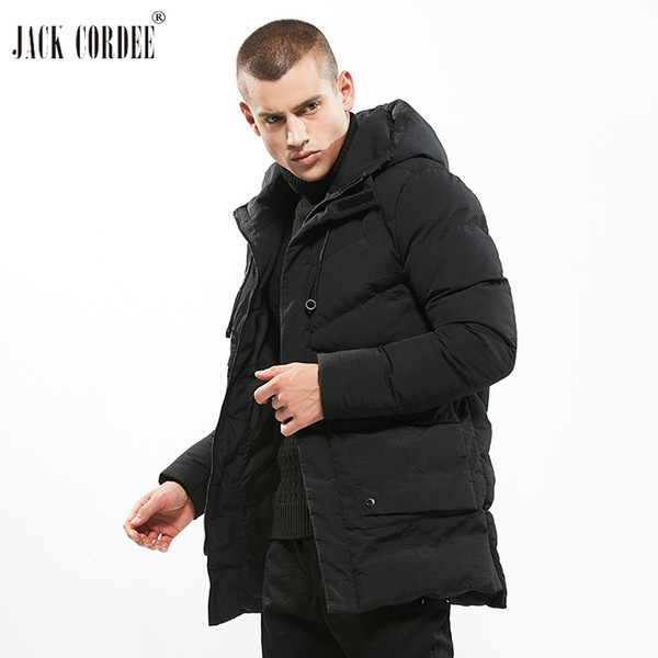 JACK CORDEE Top Quality Jacket Men Solid Windproof Casual Outerwear Thick Warm Winter Parkas Pocket Hooded Medium Long Coat