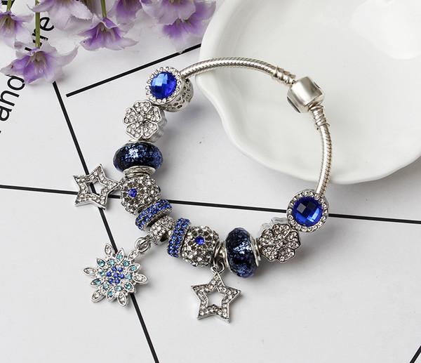 Fashion DIY Charm Pandora Bracelets Women Jewelry Gold snake chain bracelet Silver plating Crystal Beads love Valentine Day gift