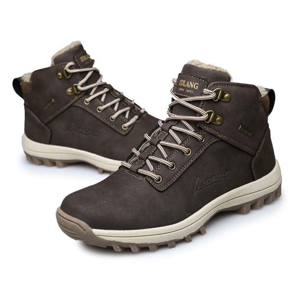Hombres Martins Boots Botines de cuero de gamuza Estilos musculares Tacones bajos Tobillo zapatos para caminatas Cálido Invierno Snow Boots Work al aire libre Negro Marrón