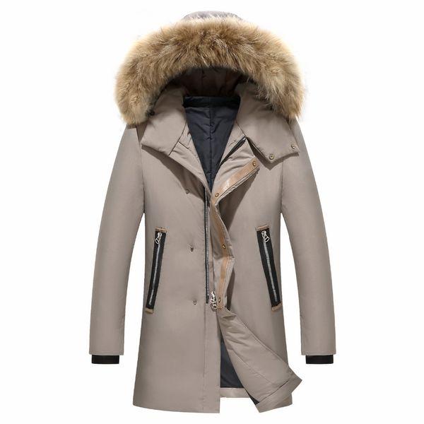Großhandel Pelzkragen Casual Russland Mantel Windjacke Männer Jacke Wintermantel Männer Hohe Qualität 90% Weiße Ente Daunenjacke Männer Langen Mantel
