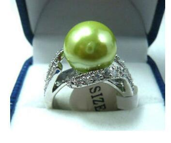 Free Shipping ! Apple Green South Sea shell pearl Bead ring size 7 8 9
