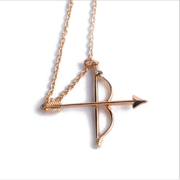Fashion Harry Bow Arrow Pendant Necklace Alloy Gold Color Plated Jewelry Human chest pendant Choker For Men Women Charm Gifts