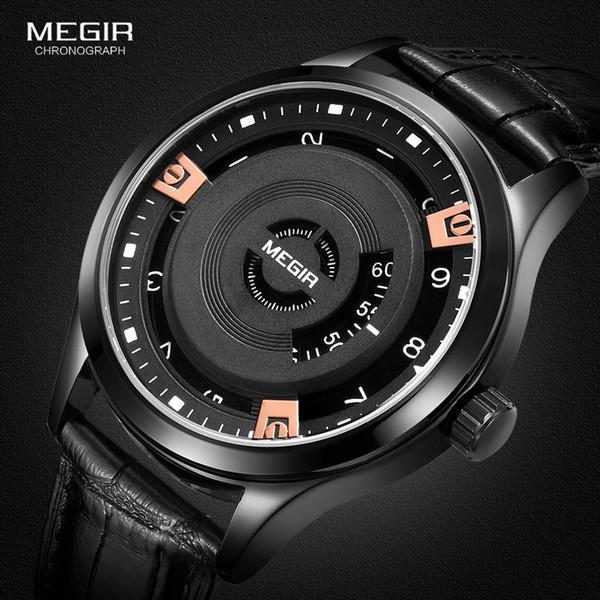 Megir Mens Moda Siyah Deri Kuvars Saatı Sıcak Su Dayanıklı Pil Kuvars İzle için Adam Male1067