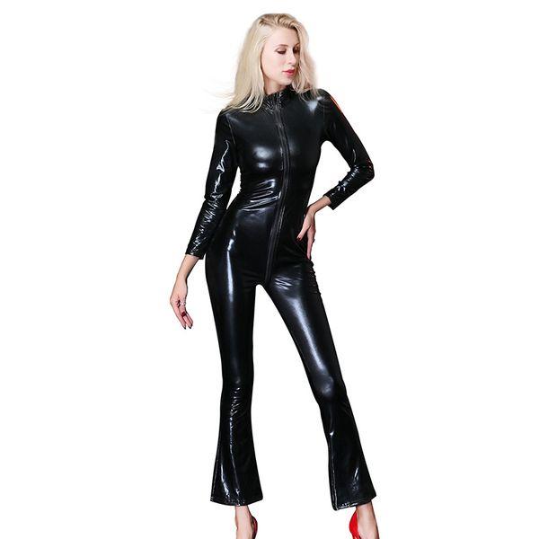 Drop Verschiffen Frauen Kunstleder Overall Catsuit Sexy Motorrad Kostüme Body europäischen und amerikanischen Frauen dünne Clubwear