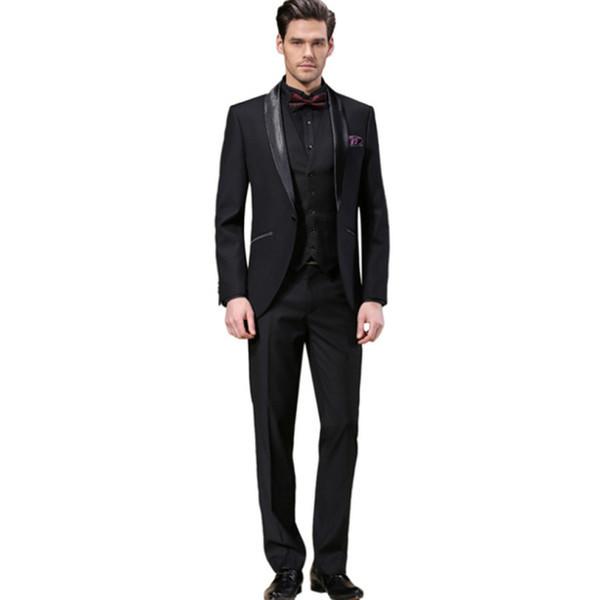 Slim Fit Black Wedding Suits Groom Tuxedos 3 Pieces (Jacket+Pants+Vest) Formal Prom Business Men Suits Blazer