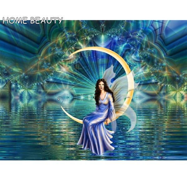 Großhandel Diamant Stickerei Mond Fee Strass Bild Wanddekor Diamant Malerei Mosaik Handwerk Hand Kreuzstich AS204