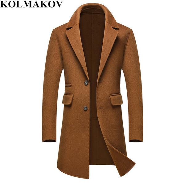 NOUVEAU Manteau en laine Hommes 2018 Long Trench-Coat Manteaux de haut de gamme Homme Mâle D'affaires D'hiver Vestes Homme Maigre Plus La Taille M-3XL