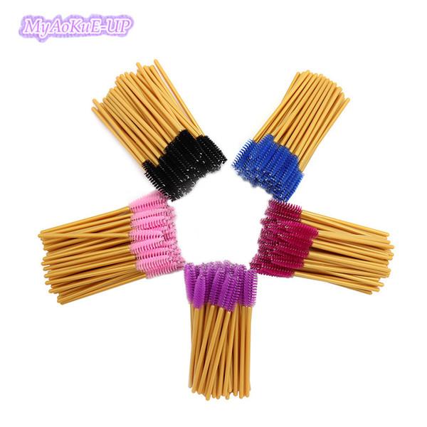 1000pcs Makeup Eyelash Brushes Disposable Mascara Nylon Eyelash Comb Brushes Gold Wands Make Up brushes Tool Mix Colors