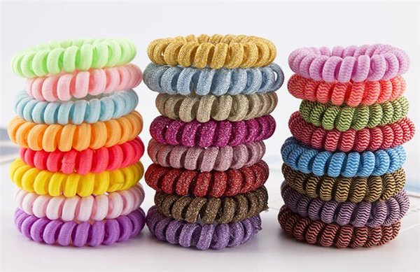 Fabric Telephone Wire Hair Band Wrapped Cloth Design Ponytail Holder Elastic Phone Cord Line Hair Tie Hair Accessories R246