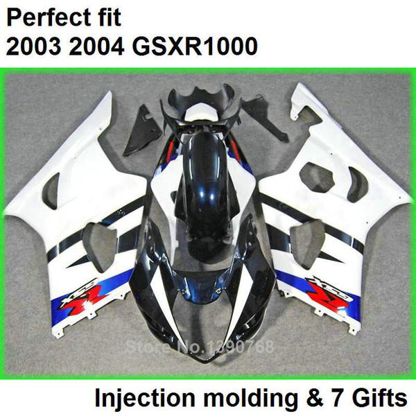 Kit carénage blanc bleu pour kit carénage SUZUKI GSXR 1000 K3 2003 2004 GSXR1000 03 04 carrosserie GSXR1000 EF20