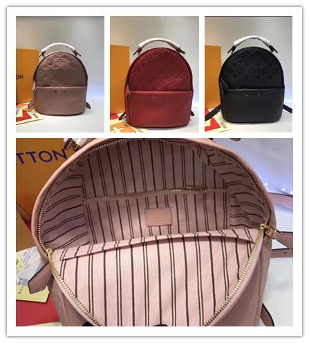 SORBONNE BACKPACK Luxury brand bags ,black red pink colors , Genuine Leather ,M44016 , 24.8*27.2*14cm