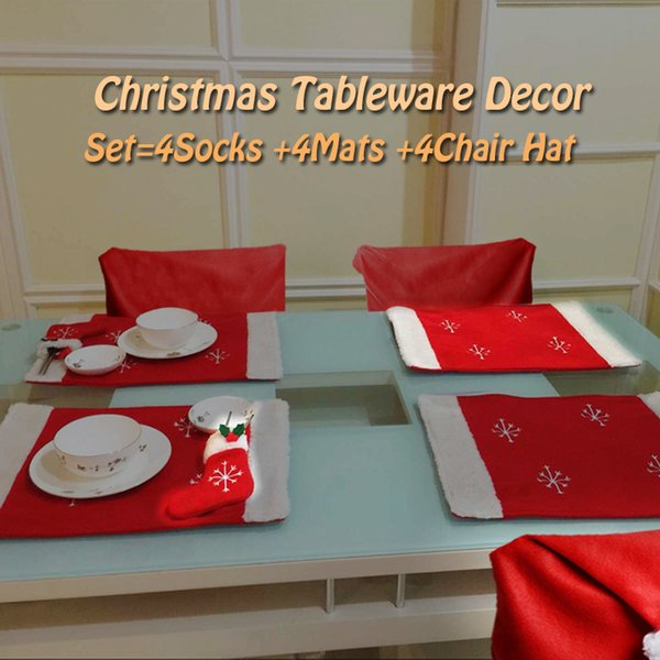 12pcs/lot Santa Claus Tableware Socks Mats Hat Dining Room Chair Cover Seat Coat Christmas Home Hotel Decorations Happy New Year