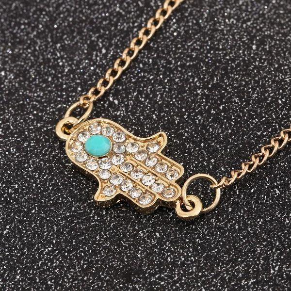 Bracelets for Women fashion Hamsa crystal Hand of Fatima turquoise Stone 18K gold Plated Bracelets Jewelry for women KKA1748