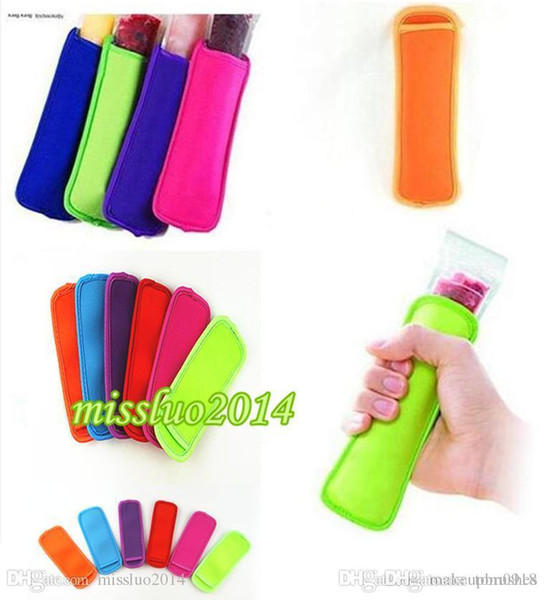 best selling Hot sale low prices high quality Popsicle Holders Pop Ice Sleeves Freezer Pop Holders 8x16cm DHL Fedex UPS SF Fast Shipping