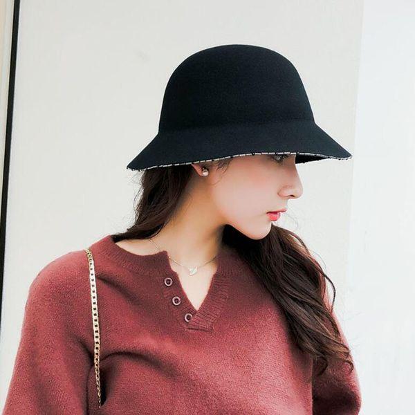 Otoño e invierno 2018 lana cálida sólido Cubo Sombrero Sombrero de pescador  Sombrero de viaje al 6ccc2a9fe80