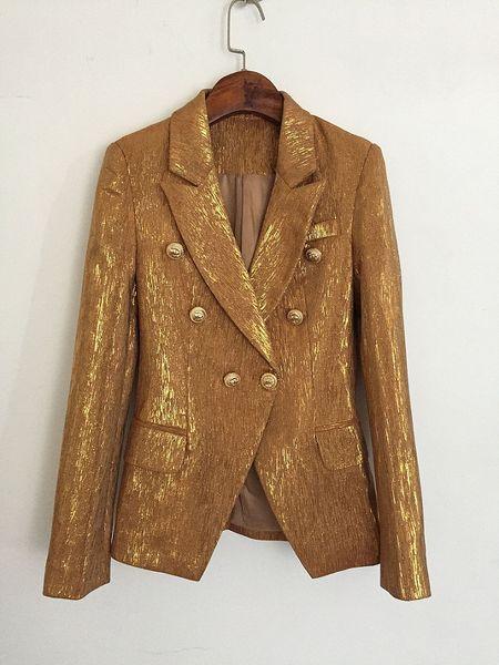 Novo com etiqueta Marca B Design de Qualidade Superior das Mulheres Trespassado Azul Fino Fivela de Metal Fivelas de Ouro Blazer glitter Ouro Outwear