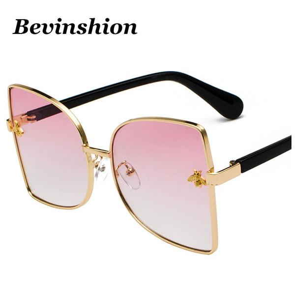 2018 Neue Kleine Biene Großen Rahmen Sonnenbrille Weibliche Übergroße Promi Sonnenbrille Cateye Metall Gelb Rosa Linse Perle Beine Spiegel