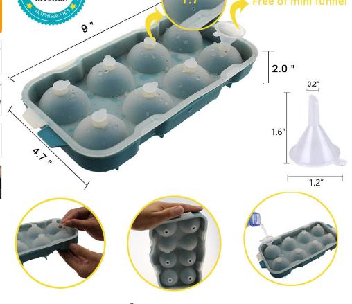 1pcs 8 Cell Ice Cream Pop Mold Silicone Ice Ball Cube Mold Sphere Ice Tray Forms Round Cube Tray Ball Maker Dia 4 .5cm