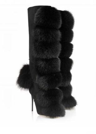 Negro Mujeres Invierno Sexy Fox Pelo Bola Adornada Rodilla Botas Altas Niñas Tacones Altos Botas Largas Señoras Zapatos de Vestido de Cremallera