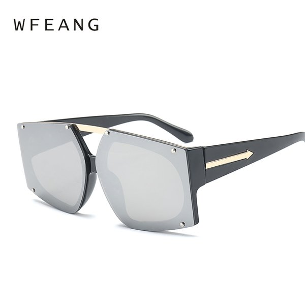 3afc15936ae WFEANG Square Sun Glasses Brand Designer Ladies Oversized Crystal Sunglasses  Women Big Frame Mirror Sun Glasses