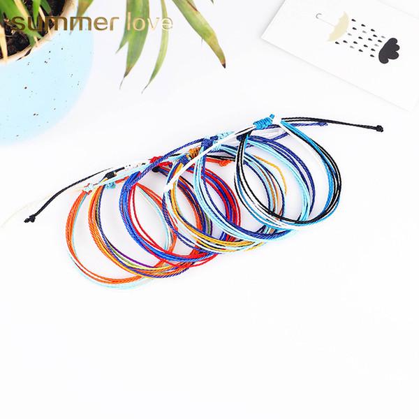 Braccialetti intrecciati a mano filo intrecciato fatti a mano multistrato braccialetto di amicizia Braccialetti di filo di cera bracciale intrecciato regolabile multicolore donne