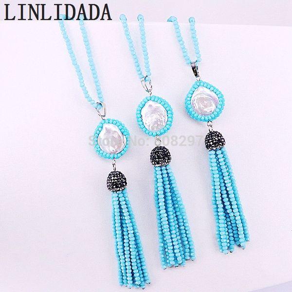 5pcs perla hecha a mano y cristal de borla larga encanto colgante collares para mujer joyería