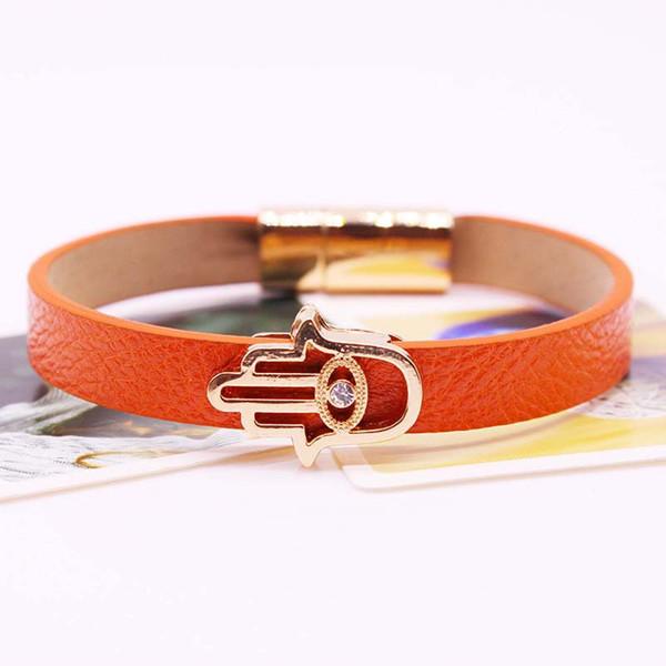 Women Buddha Hand Leather Bracelets Gold Devil's Eye Mental Buckle Wristband Men Jewelry Bracelet&bangle Handcuff