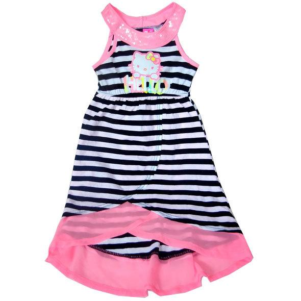 Girl's dress Hello Kitty stripped Girl's Mid-Calf dress Kids girls clothing