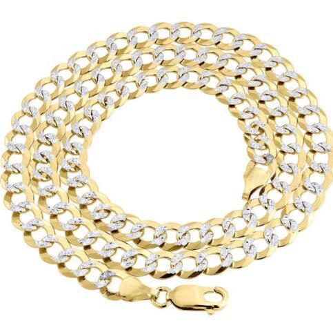 Реальные 10 K желтое золото твердых заполнить Алмаз вырезать кубинский звено цепи