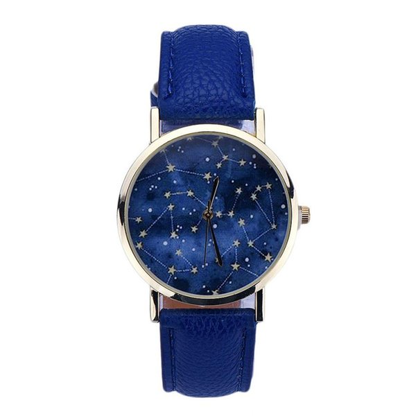 Womens Mens Quartz Watches 1 PC Star Pattern Vogue Analog Wrist Watch PU Leather Stylish Watches for Couples Wholesale 40M11