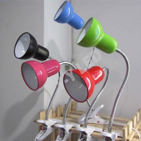 Studie Tischlampe Vollmetall Lampenschirm Lesung LED Schreibtischlampe, 360-Grad-Free Twisted Tube Clip Tischlampe