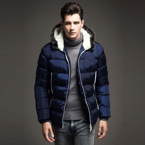 2018 Мужчины пуховик зима толстая теплая мода лоскутное мужская пальто с капюшоном куртка мужчины вниз пальто L18101103