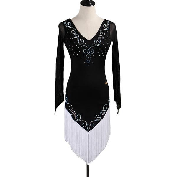 Latin Dance Dress Women Girls Latin Salsa Dance Competition Dresses Tassel Samba Costumes D0461 2 Colors Choices Rhinestones Long Sleeve