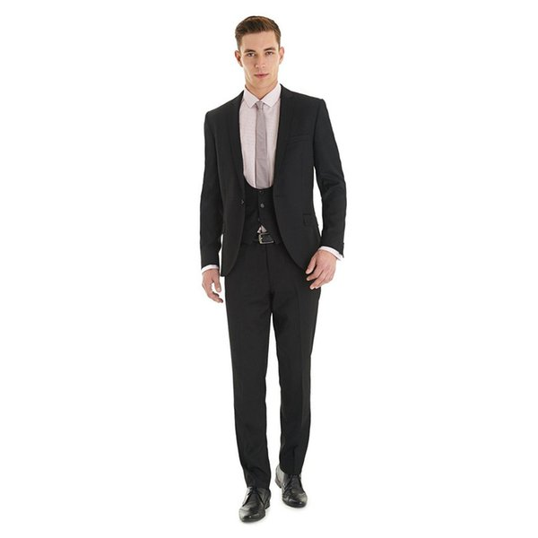 2018 Men Suits Black Wedding Suits Custom Made Groom Tuxedos 3 Pieces Jacket Pants Vest Peaked Lapel Best Man Blazer Groomsmen Wear
