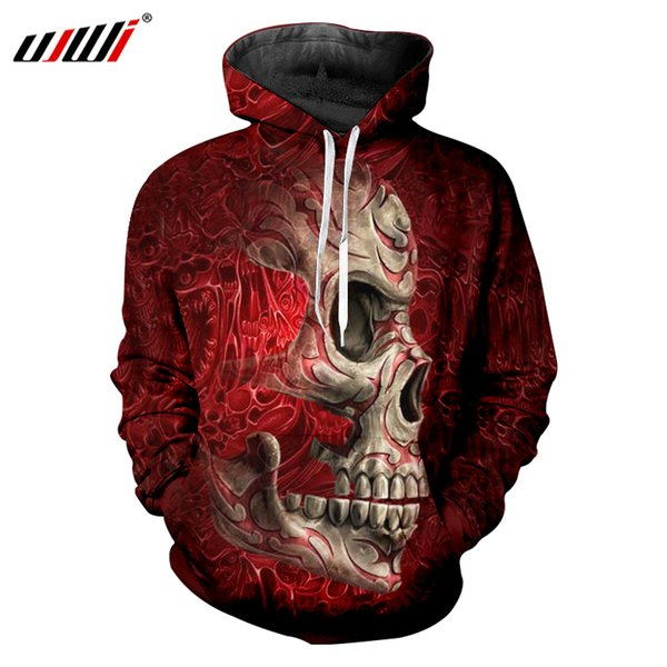 UJWI 2018 Fall Long Sleeve O Neck Hooded Pullover Tracksuits Men Cool Print Metal Skull 3d Hoodies Sweatshirts Oversize 6XL