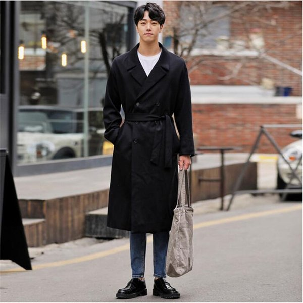 New Arrival Trench Coat Mens Casual Korean Mens Windbreaker Jackets Sashes Double Breasted Outerwear Quality Clothes A5590