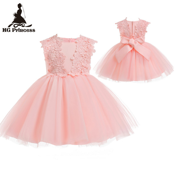 Ventas calientes 3M-18M Recién nacido Infantil Party Dresses 2018 Recién llegado Pink Baby Dress para 1 año Girl Birthday Toddler Bautizo Vestido