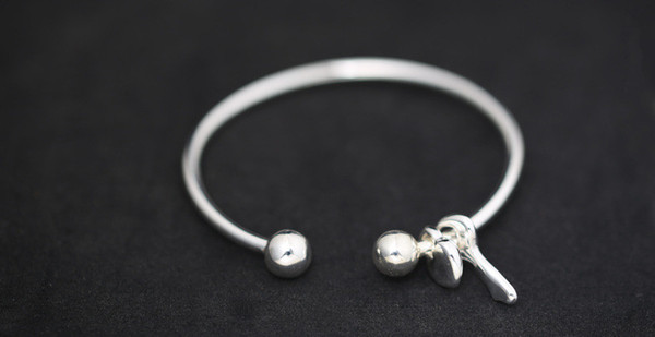 Uglyless Real S990 Fine Silver Lock Key Charms Bangles for Women Lovely Balls Opening Bangle Simple Fashion Handmade Dress Jewel