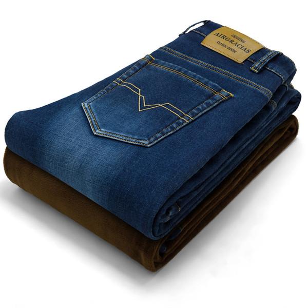 Marka Erkek Kış Streç Kalınlaşmak Kot Sıcak Polar Yüksek Kaliteli Denim Biker Jean Pantolon Pantolon Boyutu 28 -42 Sıcak satış