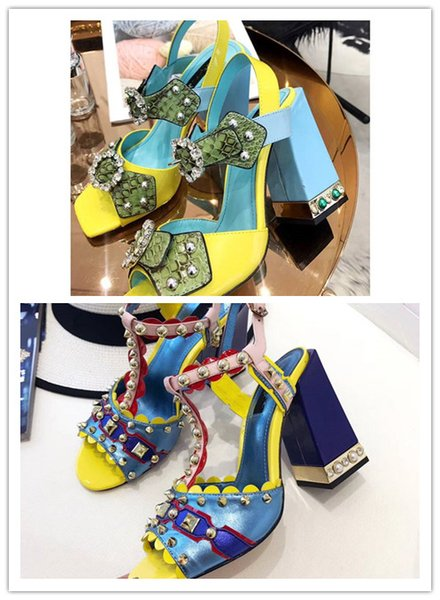 High-end customized luxury quality womens shoes Luxury in real leather rivet with diamond decoration chunky heel women high-heeled shoes
