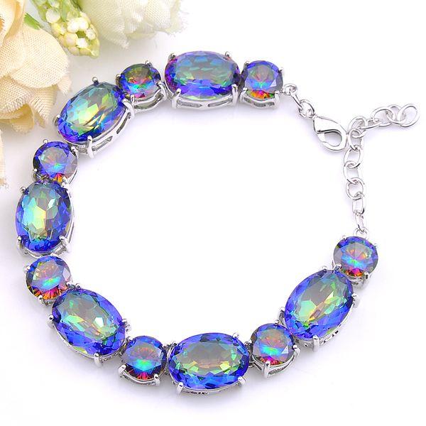 5Pcs Luckyshine Jewelry Gift Colored Mystic Blue Topaz Cubic Zirconia Gem Silver Chain Bracelets Bangles Women Wedding Party Bracelets