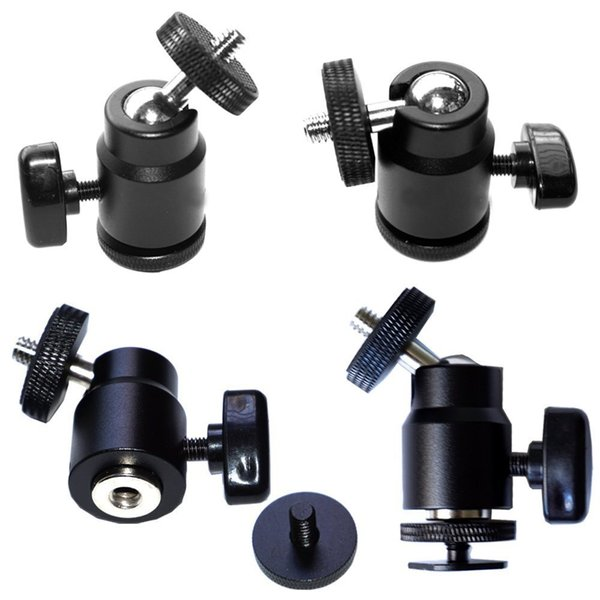"""1/4"""" Thread Mini Ball Head Hot Shoe Adapter 360 Degree Mount for Cameras, Camcorders, Smartphone, Gopro, LED Video Light, Microphone"""
