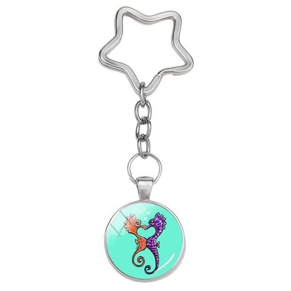 2019 Fashion Sea Horse Star Keyrings Colorful Cartoon Photo Key Chain Glass Cabochon Key Chain Jewelry