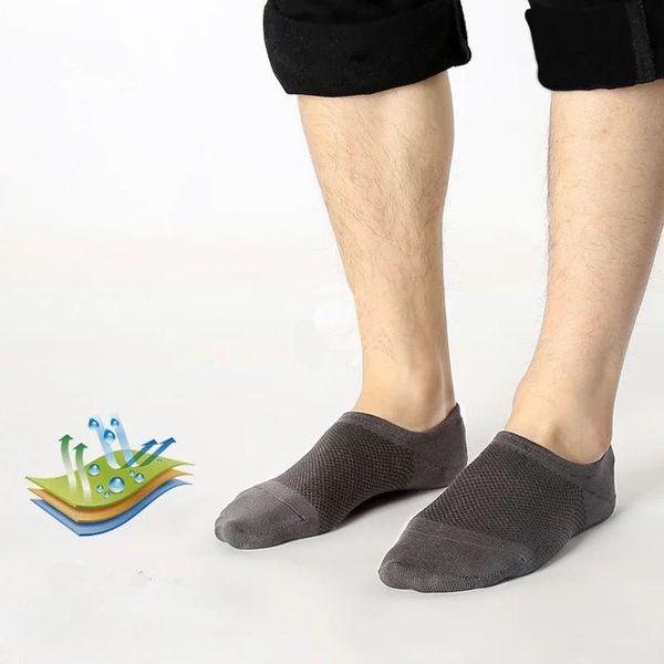 5 Pairs Summer Men Bamboo Fiber Ankle Socks 2018 New Random Color Invisible Boat Liner Low Cut Socks Ultra Thin Mesh