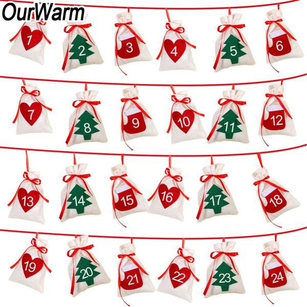 wholesale Date 1-24 Christmas Advent Calendar DIY Felt Gift Bag Countdown Calendar Garland Merry Christmas New Year Decoration